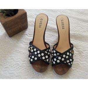 Guess Poka Dots Wooden Heels Opened Toe Size 10